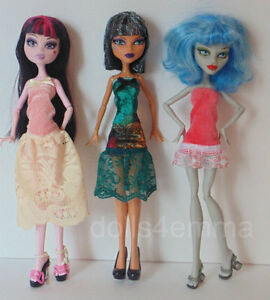 Monster High Doll Clothes LOT of 3 DRESSES w/Lace Handmade Fashions NO DOLLS