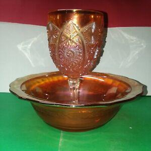 Vintage Carnival Glass Iridescent Marigold Amber Footed Goblet & Bowl