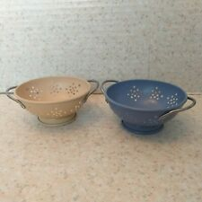 PartyLite Mini Colander Strainer Tealight Candle Holder Pair YELLOW Blue METAL
