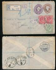 GB QV COMPOUND STATIONERY CUT OUT USED REGISTERED IPSWICH 1907 + KE7 to SAXONY