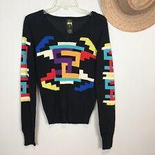Stussy Women's Sweater S Long Sleeve V Neck Black Abstract