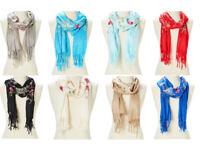 Scarf Shawl Wrap Lightweight Floral Acrylic Women Scarf Embroidered Women Wrap