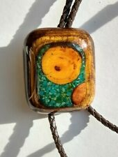 Handsome Native American Bolo Tie Polished Wood Turqouise Inlay Leather Cord