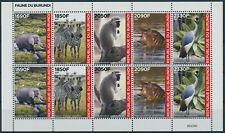 More details for burundi 2021 mnh wild animals stamps fauna elephants zebras hippos birds 10v m/s