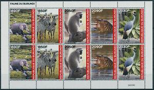 Burundi 2021 MNH Wild Animals Stamps Fauna Elephants Zebras Hippos Birds 10v M/S