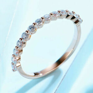 0.49 TCW ROUND DEF MOISSANITE ETERNITY WEDDING RING BAND 14K ROSE GOLD OVER