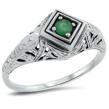 GENUINE EMERALD ANTIQUE DECO STYLE .925 STERLING SILVER FILIGREE RING Sz 6, #147