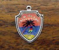 Vintage silver FLORIDA STATE PALM ISLAND PALM TREE BEACH TRAVEL SHIELD charm #E8