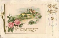 FOLDOUT:  Birthday Postcard - Rural, Roses, Poem - GILDED & SILVERED EMBOSSED