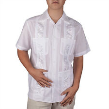 Embroidered cotton blend guayabera. SIZE:M COLOR:WH