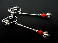 A PAIR OF TIBETAN SILVER & RED CORAL BEAD DANGLY CLIP ON EARRINGS. NEW.