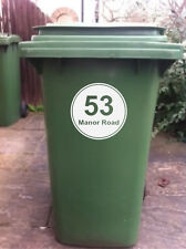4 X WHEELIE BIN STICKERS WITH HOUSE NUMBER & ADDRESS (D)