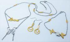 Ladies Stainless Steel Jewellery Set Bracelet Necklace Earrings Butterfly Love
