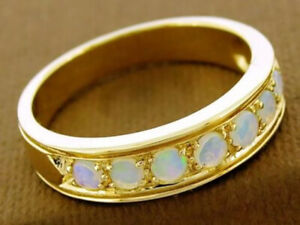 R077 Genuine 9ct Solid Gold Natural Opal Wedding Eternity Ring Band in your size