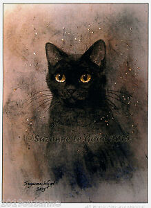 LTD EDITION MAGICAL BLACK CAT PRINT FROM ORIGINAL PAINTING BY SUZANNE LE GOOD