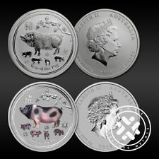 Lot of 2 2019 Australian 1/2 oz Silver Coin Year of The Pig FREE Shipping