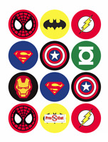 35 Super Hero Cupcake Cake Toppers Decorations Edible Wafer Paper *Pre Cut*