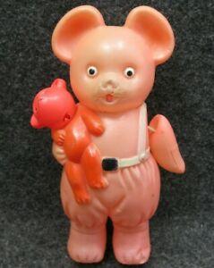 Celluloid Bear Holding Teddy Bear Occupied Japan Vintage RARE HTF