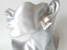 Gorgeous white & gold tone diamante TRIANGLE shape stud style - drop earrings
