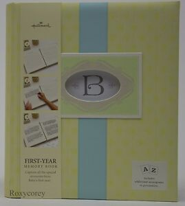 Hallmark Yellow & Blue  Monograms First Year Memory Book NEW