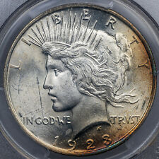 1923 LIBERTY PEACE DOLLAR SILVER PCGS MS63 STUNNING SELECT COLOR TONED UNC (MR)