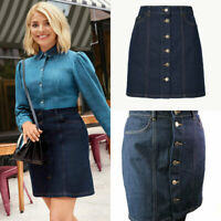 M&S Marks Spencer Holly Willoughby Blue Denim Button Up Mini Skirt 8-22