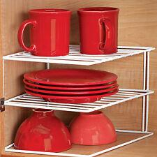 Estante de la esquina insertar 2 niveles soporte de cocina de metal 25 X 25 X 19 CM Blanco SI-K1030