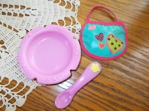 2006 Baby Alive Soft Face Interactive Doll Original Pink SPOON, BOWL & Extra BIB