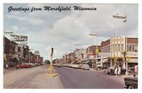 1950's MARSHFIELD WI DOWNTOWN OLD CARS VINTAGE POSTCARD WISCONSIN FORD CHEVY !!!