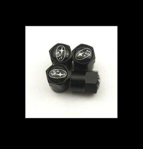 BLACK WHEEL VALVE STEM DUST COVER CAP CAPS for SUBARU STI WRX