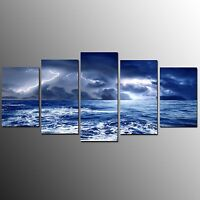 FRAMED Canvas Art Prints Lightning Wall Art Canvas Painting For Living Room-5pcs