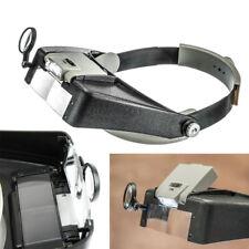 Head Magnifier Jewelry Watches Headset Headband LED Power Light Visor Glasses