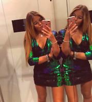 ZARA BNWT GREEN TWO-TONE SEQUINNED DRESS Size L