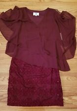 NWT SD Collection Burgundy Size  12 Lace Sequin Sheath Dress Chiffon Overlay