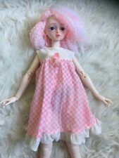 Vintage Pink & White Summer Dress Nightgown Fits 1:4 Msd Bjd Doll As Is