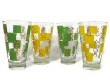 Set of 4 Retro High Ball Tumbler Glasses Chess Pieces Yellow Green Squares