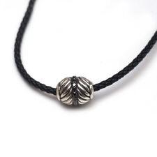 "New DAVID YURMAN Chevron Silver Ojime Bead Rope 18"" Necklace Black Diamond NWT"