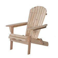 Outdoor Foldable Adirondack Wood Chair Patio Lawn Garden Furniture W/Plans New