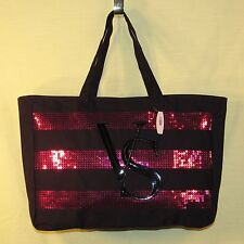 Victoria's Secret - Black Canvas Tote Bag with Pink Sequin Stripes - Zips - NEW
