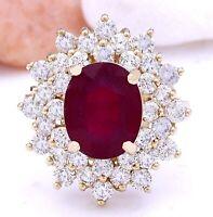 6.30 Carat Natural Ruby 14K Solid Yellow Gold Diamond Ring