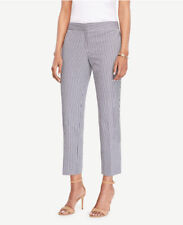 NWT Ann Taylor The Ankle Pant Devin Fit in Blue/White Seersucker • Size 4