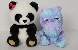 Build A Bear Smallfrys Lot 2 Hippo & Panda Stuffed Toy BABW Plush