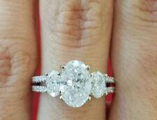 Moissanite Engagement Ring 925 Sterling Silver 8 Ct Forever Near White Oval