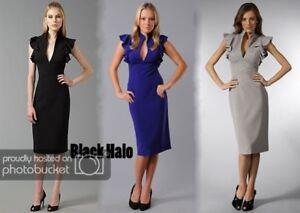 Black Halo Keyhole Ruffle Sleeve Sheath Casual Work Formal Dress Gown: ALL SIZES