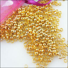 150Pcs Gold Plated Smooth Round Ball Copper Crimp Beads Charms 3mm