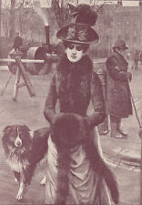 BORDER COLLIE DOG WITH VICTORIAN LADY ANTIQUE PRINT 1890