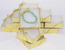 LOT OF 12 GOLD Clear view COTTON FILLED BOX JEWELRY GIFT BOX BRACELET BOX