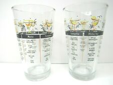 2 Libbey Mixed Drink Recipe Measuring Barware Tall Glasses Cocktail Bartender