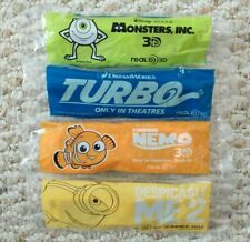 4 Child Size Real D 3-D Glasses - Monsters Inc/Turbo/Finding Nemo/Minions 3D TVs