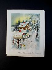 Vintage Unused Glitter Xmas Greeting Card Country Cottage & Mailbox with Gifts